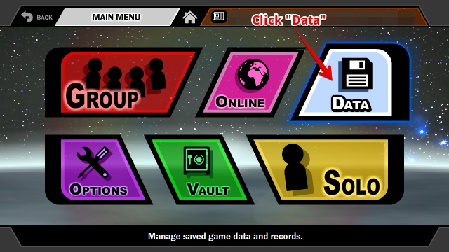 Data Button on SSF2's Main Menu
